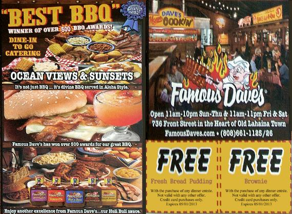 Famous daves coupon code
