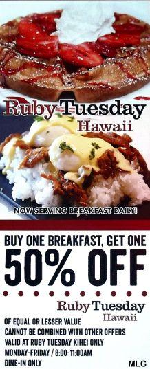 Ruby Tuesday Hawaii Kihei Maui Discount Coupon Maui