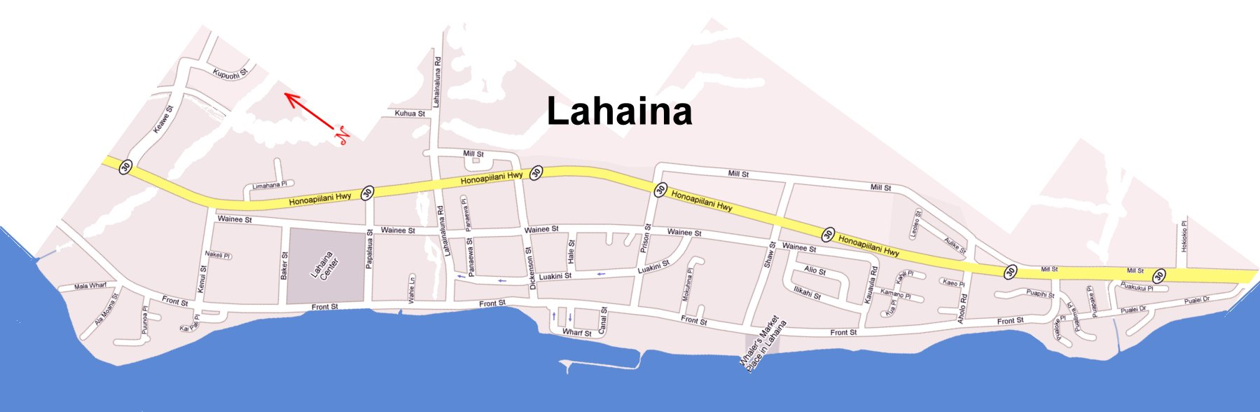 Larger Map Of Lahaina
